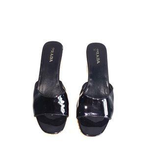 PRADA Patent  Cork  Platform Slip-on Sandal